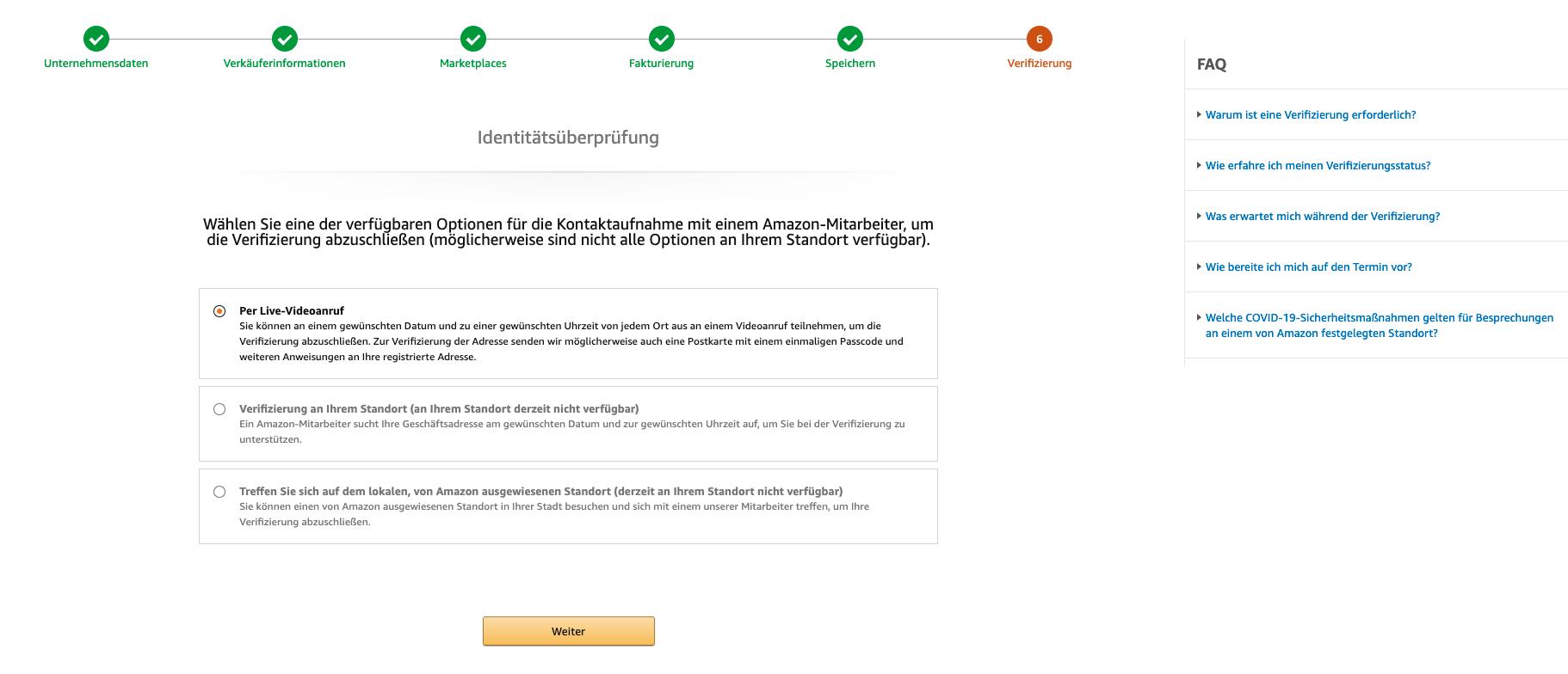 Amazon Seller Registrierung